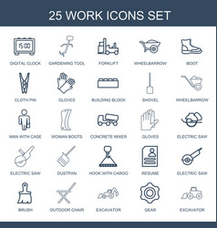 25 work icons vector image