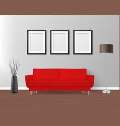 3d realistic render red sofa couch vector