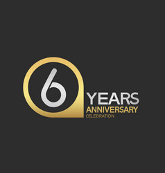 6 years anniversary celebration simple design vector