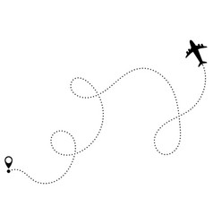 airplane flight path travel flight dashing vector image
