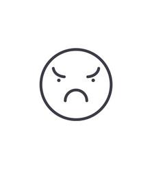 angry emoji concept line editable concept vector image