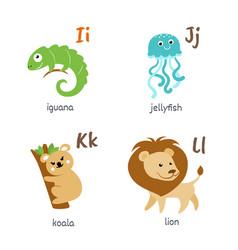 animal alphabet with iguana jellyfish koala lion vector image