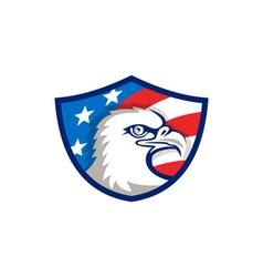 Bald eagle head usa flag shield retro vector