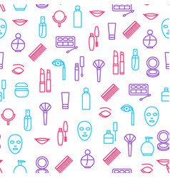 beautiful female make up seamless pattern vector image