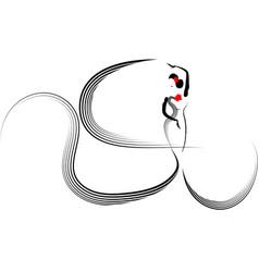 Beautiful logo young woman hispanic flamenco dance vector