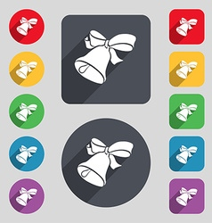 bell icon sign A set of 12 colored buttons and a vector image
