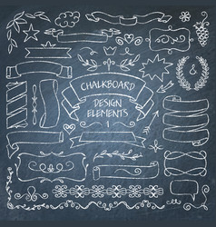Big collection of chalkboard elements vector