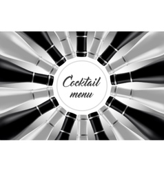 Black and white cocktail card vector