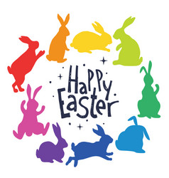 Bunnies silhouettes in rainbow colors arranged in vector
