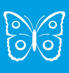 butterfly peacock eye icon white vector image