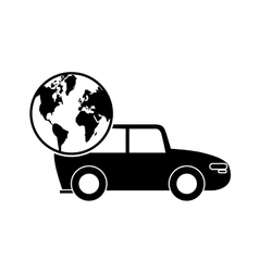 Car and earth globe icon vector