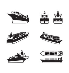 cargo ship in different perspective vector image