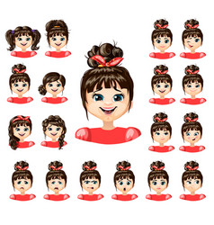 Cartoon beautiful girl emotions collection vector