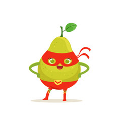 Cartoon character of superhero pear with arms vector
