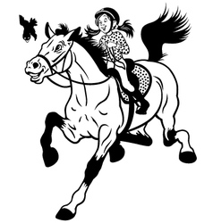 Cartoon girl riding horse black white vector