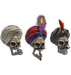 cartoon indian skulls in traditional turban vector image