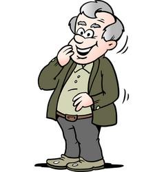 cartoon of a happy old man vector image