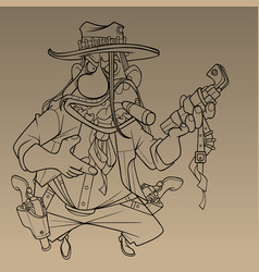 Cartoon sketch a tough male cowboy with vector