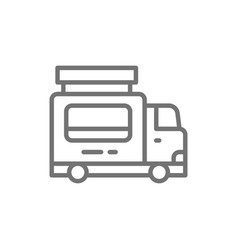 catering food trailer fast food truck line icon vector image