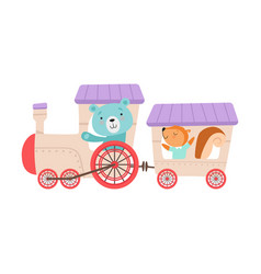 Cheerful red cheeked bear and squirrel driving toy vector
