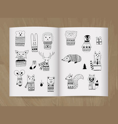 Christmas doodle animals in the notice-book vector