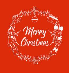 christmas icons wreath vector image