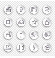 cinema line icons on round white stickers with vector image
