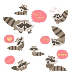 Collection of funny raccoons vector