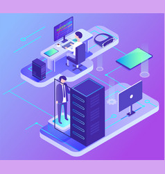 computer communication data center pc vector image