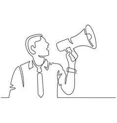 continuous line man with megaphone male vector image