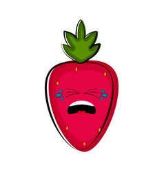 crying strawberry cartoon character emote vector image
