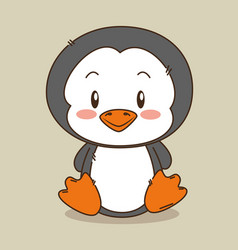 Cute and little penguin character vector