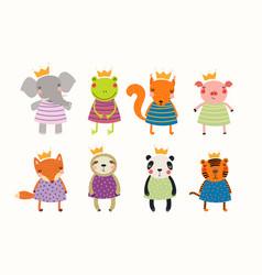 Cute animals princesses set vector
