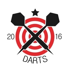 Darts label Badge Logo Darts sporting symbols vector image