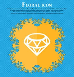 Diamond Icon sign Floral flat design on a blue vector image