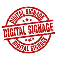 Digital signage round red grunge stamp vector
