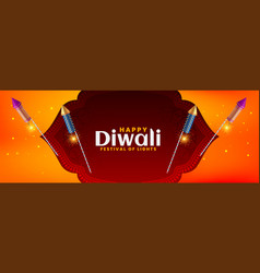 diwali festival banner in beautiful style vector image