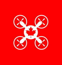 drone quadrocopter icon maple leaf symbol vector image