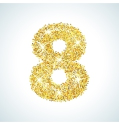 Eight number in golden style vector image