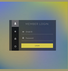 Elegant member login form template design vector