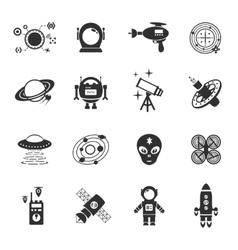 Fiction Icons Black Set vector image