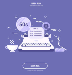 Flat of old typewriter retro styled vector