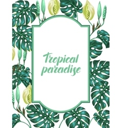 Frame with monstera leaves Decorative image of vector