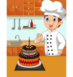 funny chef cartoon with her made cake vector image
