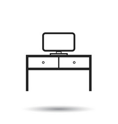 furniture table with laptop computer icon table vector image