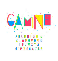 gamine font and alphabet numbers and vector image