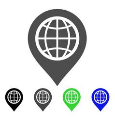 Globe map marker flat icon vector