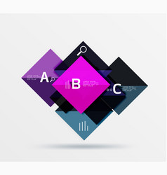 glossy squares with text abstract geometric vector image
