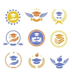 Graduation student cap sign labels Education vector