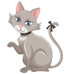 Gray cat with black ribbon on tail vector